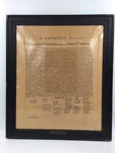8950 - A - The Unanimous Declaration of the Thirteen United States of America - in Congress - July 4, 1776 - Encased in Frame with Glass - Back sealed with Bee's Wax Parchment