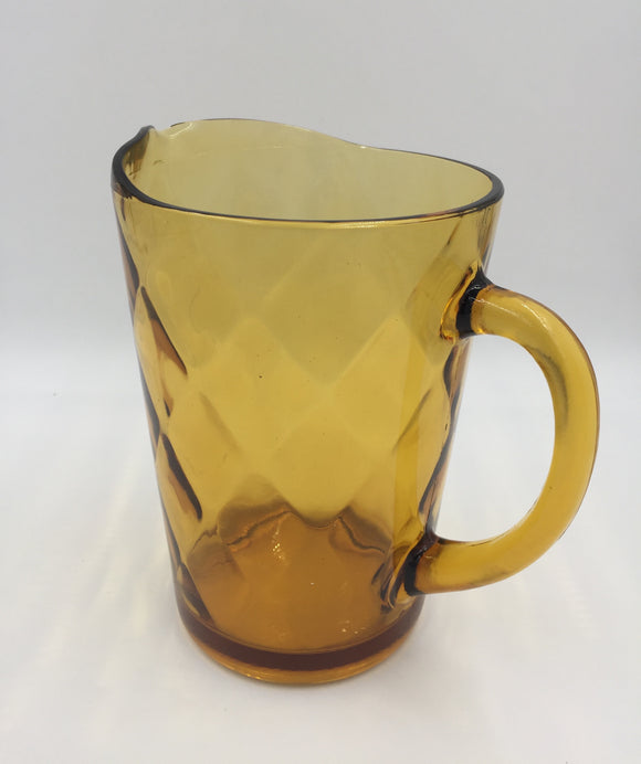 9042 - H - Amber Glass Pitcher - Diamond Design in Glass - Great for All Beverages - Never Used -