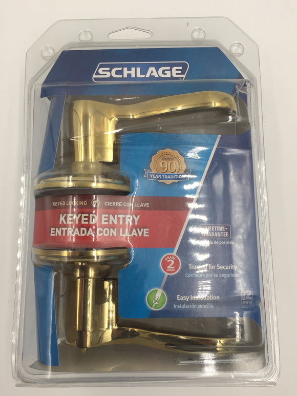 9046 - H - Lever Keyed Entry Hardware - F51-V-FLA-505 - Flair Lever - Never Opened - NEW - Schlage - Polished Brass -