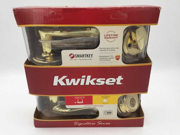 9051 - W - Kwikset Brass Lever & Deadbolt with Keys - Smart Key - Opened but 100% Complete