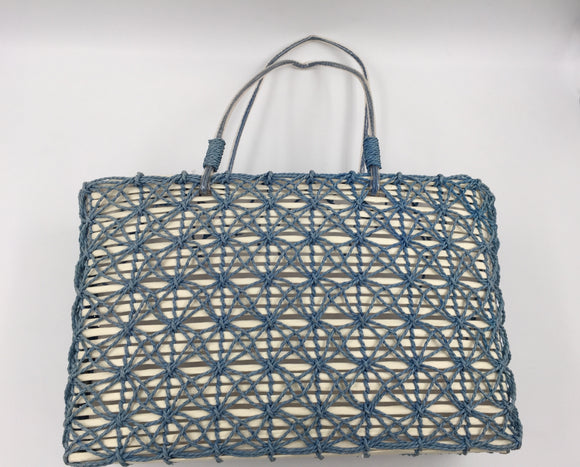 9061 - AP - Carry-All - Woven Hand Bag - Slate Blue Weave