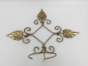 "9064 - H - Aged Metal Art Holder - Brass Leaf Design - Plants, Sconces, Baskets of Flowers - Anything That Fits The 3"" Radius Holder"