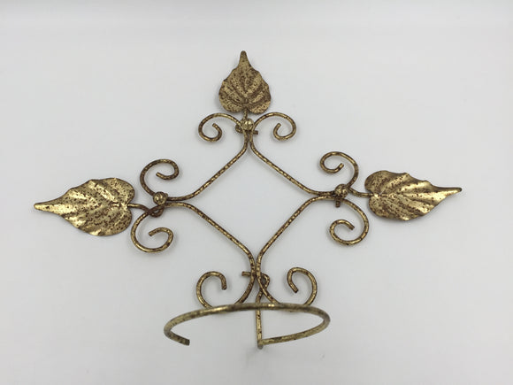 9064 - H - Aged Metal Art Holder - Brass Leaf Design - Plants, Sconces, Baskets of Flowers - Anything That Fits The 3