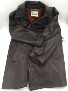 9071 - AP - Men's Italian Fine Brown Leather Coat - Gino Paoli - With Removable Inside Insulating Liner - Size 42 -