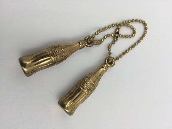 9074 - C - Vintage Coca-Cola Bottle Key Chains (2) - Brass Color with Attached Chains -