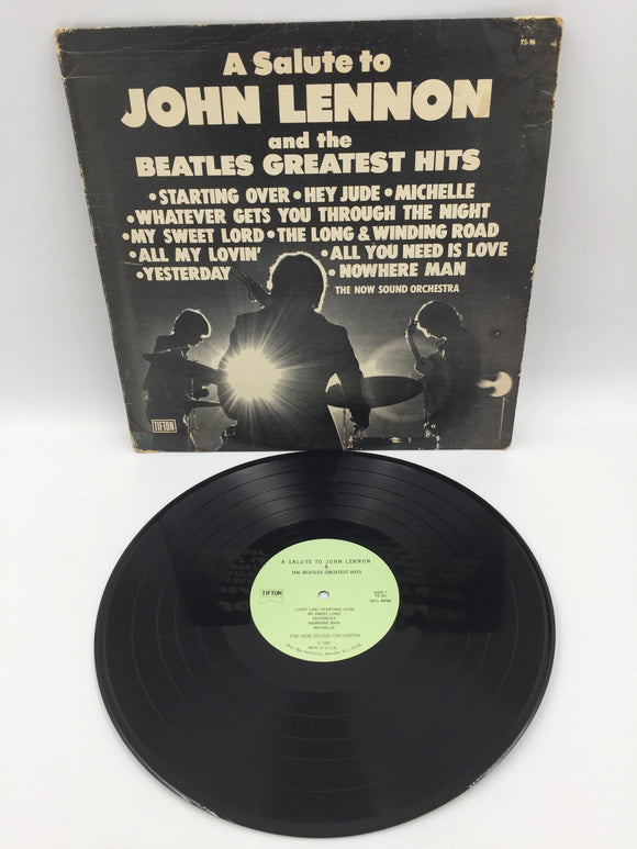 9094 - C - Album - A Salute to John Lennon and the Beatles Greatest Hits - 1980 - Peter Pan Industries - Dramatic Album Cover Photographs  - The Now Sound Orchestra -