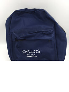 9131 - H - Back Pack - Casinos at Sea Logo - From Norwegian Cruise - Navy Blue - Plenty of Room For All Your Clothes, Picnic, Phone, Books, Anything - Never Used - New Condition -