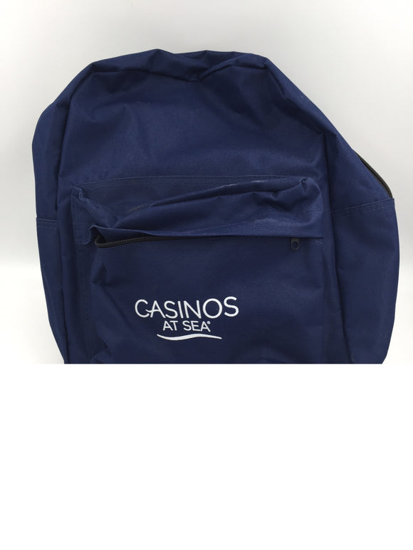 9131 - H - Back Pack - Casinos at Sea Logo - From Norwegian Cruise - Navy Blue - Clothes, Picnic, Phone, Books, Anything - New Condition