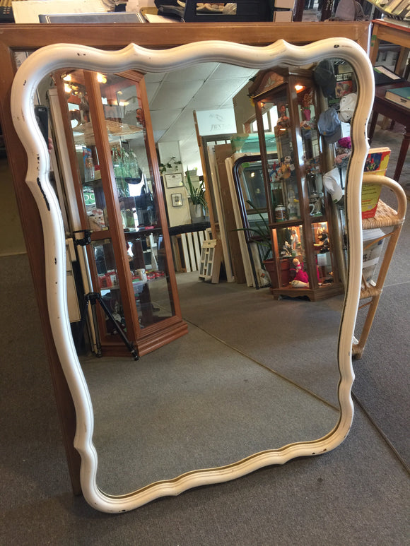 9176 - H - Multi-Dimensional Mirror - Has a White Border - GC - Has Wall Hanging Hardware - Can Paint Any Color - 30
