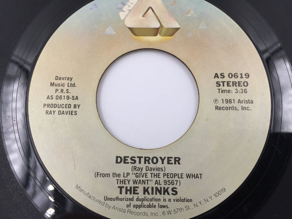 9224 - C - 45 RPM Record - The Kinks - Destroyer - Back to Front - 1981 - Arista Records