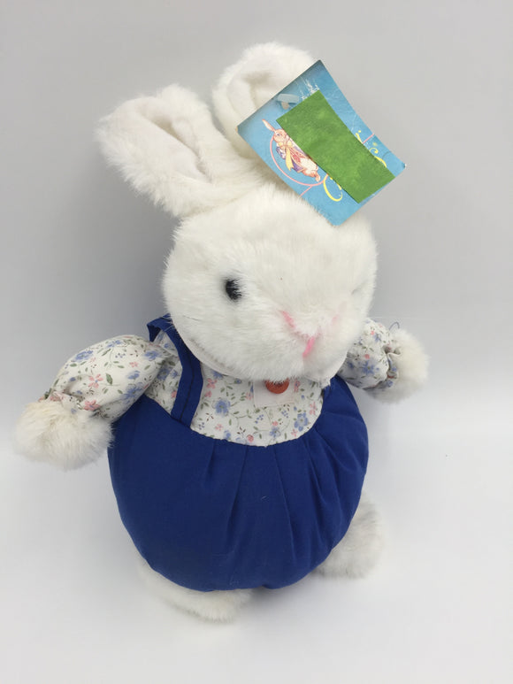 9244 - T - Cuddly Stuffed Bunny - Blue Bloomers - Flowered Blouse - White Fur - Soft and Squeezable - 10