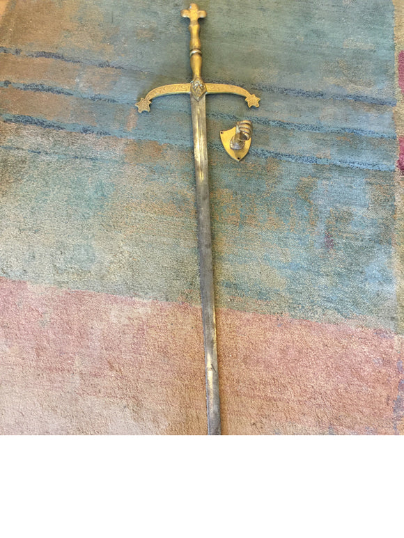9295 - AN - Antique European Military Long Broad Sword with Pommel