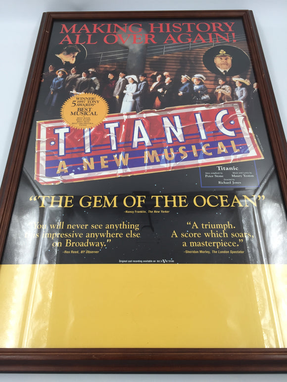 9296 - C - Poster - Titanic - A New Muscial - 1997 Winner of 5 Tony Awards - Framed under Glass