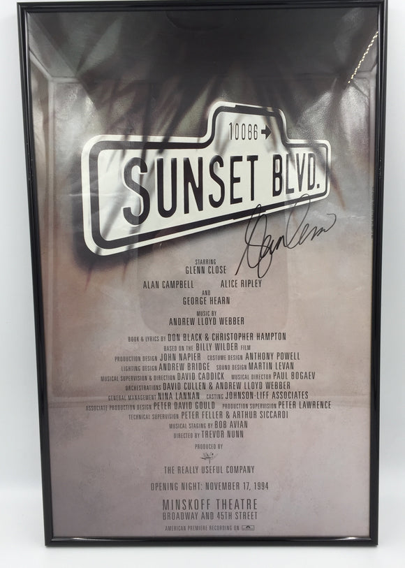 9300 C - Poster - Sunset Blvd - Framed - Autographed by Glenn Close