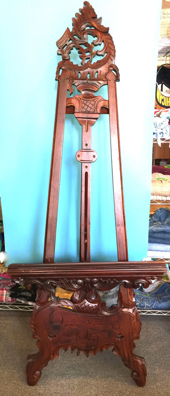 9367 - A - Hand Carved Indonesian Art Easel - Stained Exotic Natural Wood - 26