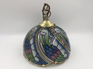 9376 - H - Colored Glass Chain Hanging Lamp - Brass Frame - Colored Glass Petal Shaped Panels