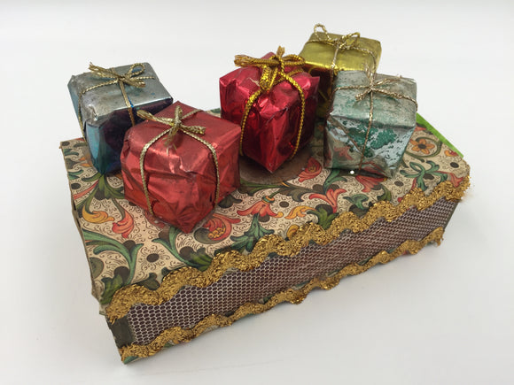 9381 - H - Decorative Gift Box of Wooden Matches - Real Miniature Wrapped Gifts on Box Top -