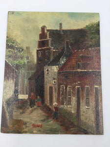 "9386 - A - Oil Painting - Small Painting - Signed ""Hung"" - Small Town, People, Street, Old Buildings - Signed Original"