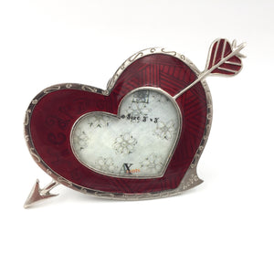 9413 - H - Heart with Arrow Picture Frame - Heavy Silver Metal - Engraved