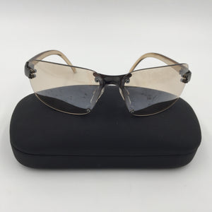 9427 - AP - Designer Sun Glasses - Light Tinted Lens - Light Bronze Colored Frames - Black Revo Case