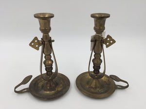 9433 - H - Brass Candle Holder Set - Vintage Design, Solid Brass - Interpur