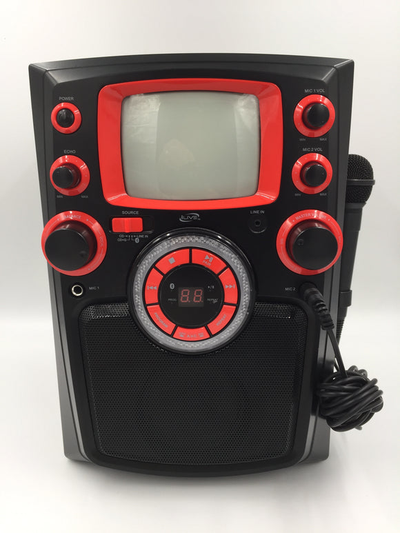 9457 - E - iLive Karaoke Machine - Flashing Colored Lights - Built In Speaker - CD - CD G - Bluetooth Line In