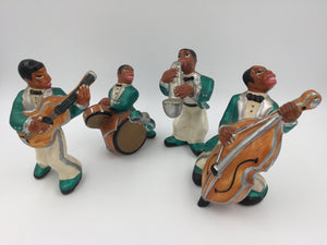 9506 - C - Vintage Set of 4 Glazed Ceramic Jazz Band Figurines