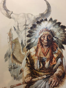 9549 - A - Oil Painting - Native American Chief - G. Bogard - Original Signed Work on Canvas