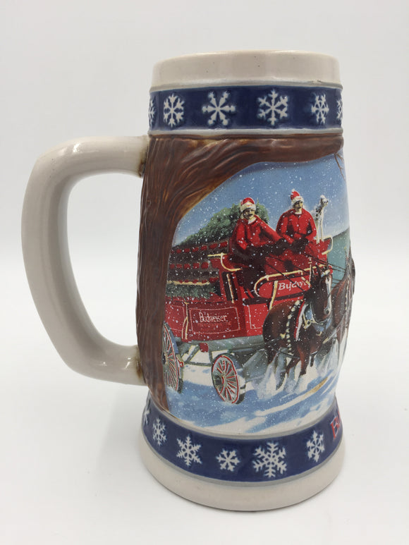 9681 - C - Beer Stein - Budweiser Holiday Stein - 1995 - Lighting the Way Home