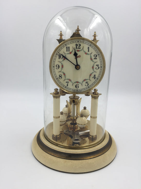 9754 - C - Schatz 400 Day Anniversary Clock - Brass Construction - Ivory Color Detail - Made in Germany
