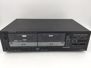 9764 - E - Dual Cassette Player - Kenwood - KX-95W - Black - Turns On, Motors Run - Needs Work, As Is