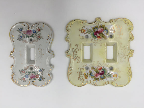 9785 - V - Porcelain Double & Single - Original Anan Creation Floral Light Switch Covers - 6884Y & 7310