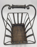 8672 - H - Iron & Bamboo Basket