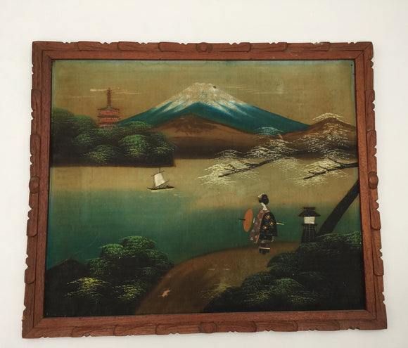 8495 - A - Vintage Japanese Silk Painting - Framed