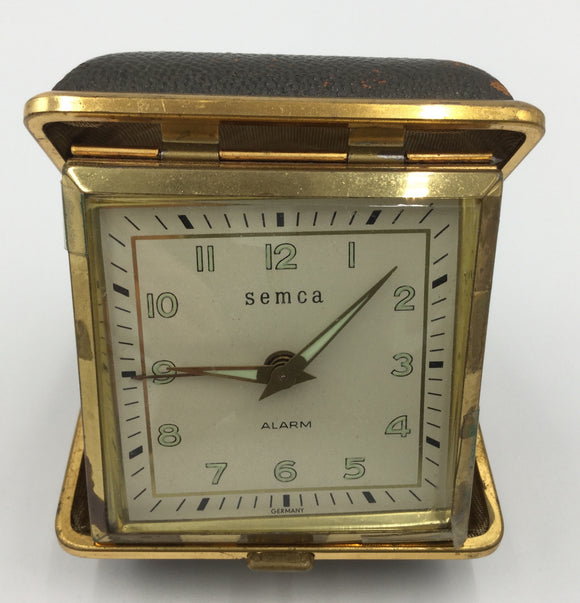 8683 - H - Clock - German Portable - Semca - 1950 Vintage - Works Great