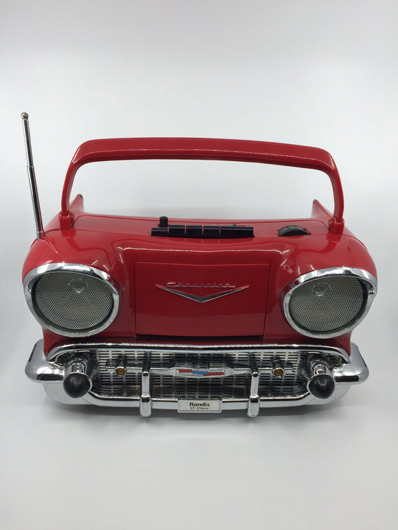 8686 - E - AM/FM Radio - Cassette Portable Player - '57 Chevy - Red - Battery Operated