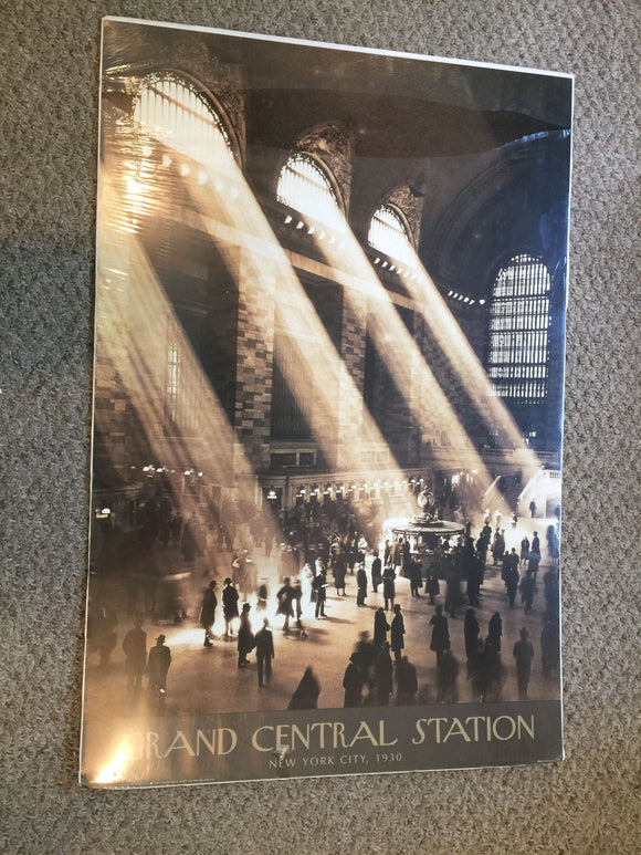8137 - A - Lithograph - Grand Central Station - New York City - 1930 - Light Pouring in Upper Round Top Windows is Very Profound -