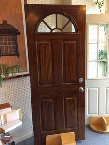 "257B - D - Steel Entry Door - 32 5/8""w x 80h- Wagon Wheel - Custom Painted - 2-tone Wood Grain"