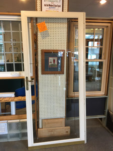"287G - D - Storm Door - 36""w x 80""h Almond Color - Full-lite - No Screen - Leaded Prairie Grids - Brass Lever Handle"