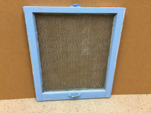 "147F - W - Sash 1920's wood - 27 3/8""w x 28""h - Blue - Single Obscure Glass - Old Wood Sash"