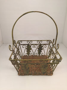8517 - H - Metal & Wicker Basket