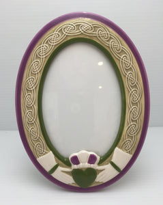 8655 - H - Oval Ceramic Picture Frame - Hands Holding Heart