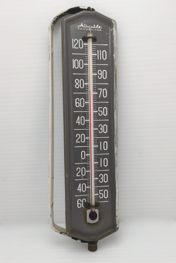7921 - H - Mercury Thermometer -60* to +120* -Old Airguide mercury type with wall mount, Chicago, USA.