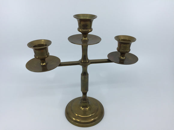 8693 - H - Brass 3-Candle Holder Modern Design Heavy Brass.