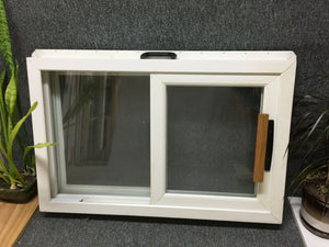 "273 - D - Patio Door Sample - 35 1/8""w x 23""h - White In and Out - LowE Argon - Handle, Rollers, Strike"