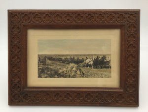 "8698 - A - Picture - Pierre Casini Hand Carved Frame - With Vintage Post Card - ""Reaping Wheat In Dakota"" - 7-12 x 5-1/2 Frame Size -"