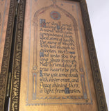8699 - A - Picture - Along Life's Way - Vintage Dual Golden Parchment Colored Inked Plates - Life Blessing Prayer With Castle in the Sky Drawn Image with Ornate Arches Bordering Drawing and Prayer - One of a Kind -