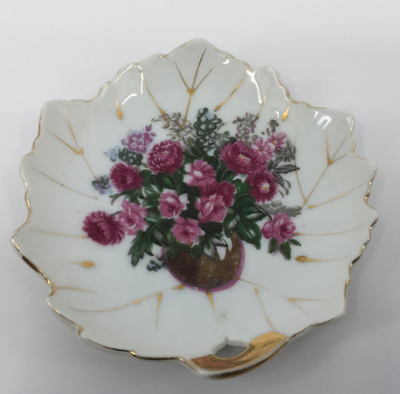 8702 - H - Decorative Plate - Leaf Shaped w/Floral Design - Hand Painted - Made in Japan