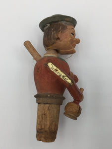 8689 - AN - Puppet - Vintage Wine Cork Figurine - German Inscription on the Mechanical Arm Holding a Wine Bottle