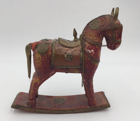 8690 - AN - Minature Antique Rocking Horse, Exquisitely hand crafted copper and brass inlays with exotic wood carved rocker and body - a one of a kind piece - 6-1/2 x 6-1/2 x 2
